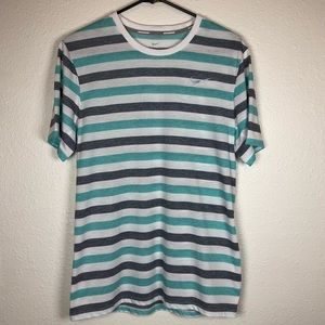 Nike mesh gray white green striped running shirt